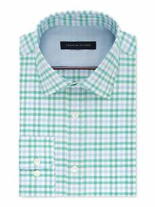 TOMMY HILFIGER Mens Green Tattersall Classic Stretch Dress Shirt M 15.5- 34/35