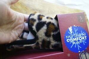 Dearfoams Women's Gel infused Memory Foam Slipper Scuffs Leopard 5-6 NEW in Box