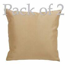 "2 Gold Plain Faux Silk Scatter Sofa Cushion Cover Case Deco 18"" x 18"" 45 x 45cm"