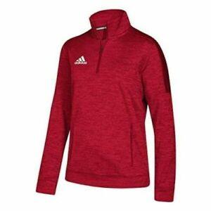 New Adidas Women's Athletics Team 1/4 Zip Long Sleeve RED Women's Medium