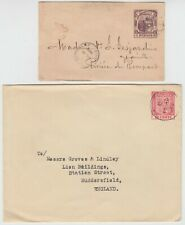MAURITIUS envelopes 1900 2c locally used to RIVIERE DU RAMPART 1925 to ENGLAND
