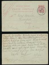 FRANCE to IRELAND 1903 STATIONERY LONDON MB CANCEL BOIT MOBILE to OMAGH