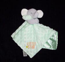 Carters Child of Mine Little Star Green Elephant Baby Blanket Minky Dot Satin