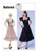 NEW Butterick Gertie Sewing Pattern Misses Retro Square-Neck Dress & Belt B6352