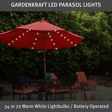 More details for gardenkraft warm white garden parasol lights / 54 or 72 lights / battery operate