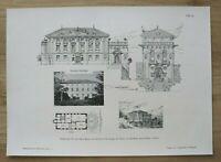 AR1) Architektur St Giorgio Trient Italien 1901 Villa Baron v Salvotti Holzstich