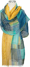 Schal Leinen, Blau Punkte Streifen Foulard  scarf linen Turquoise dots stripes