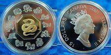 Kanada 15 Dollar, Jahr der Schlange 2001 PP, teilvergoldet, 34g 925er Silber