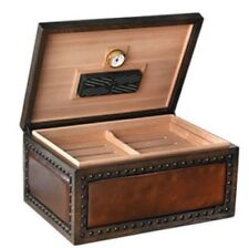 The CHARLSTON 250 ~ Brown Leather Upholstered  Humidor with Hammered Nail Design