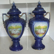 Antique Original Vases Blue British Art Pottery