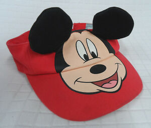 Disney MICKEY Mouse RED Baby SUN VISOR Hat BLACK Ears FLAP Size 12-24m CLEAN