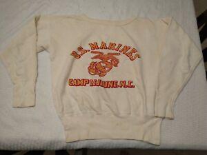 Vintage U.S. Marines sweatshirt Base Camp Lejeune NC Semper Fidelis boot PT gear