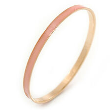 Thin Light Pink Enamel Bangle Bracelet In Gold Plating - 19cm L