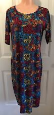 "LuLaRoe, ""NICOLE"", Size XL, Knit Dress in Mult-Colored Patchwork-like Print. NEW"
