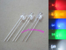 100pcs, 5mm Red Yellow Blue Green White Flat Top LED Wide Angle Leds + Resistors