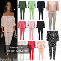 Ladies Celebrity Inspired 2 Piece Frill Bardot Off Shoulder Suit Set Plus 8 - 22