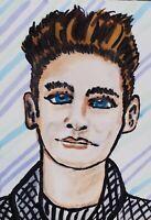 Morrissey The Smiths ACEO Original Miniature Art Painting Artist KSams 2.5x3.5