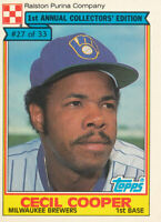 Cecil Cooper 1984 Topps Ralston Purina #27 Milwaukee Brewers baseball card