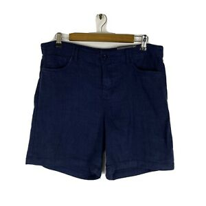 NYDJ Womens Shorts Size 10 Blue Linen Blend 5 Pocket Stretch Casual NEW