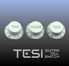 Tesi Stratocaster Knob Set - White, Gold Ink - Big Pimpin'