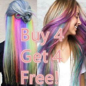 BUY 4 GET 4 FREE 2Rainbow Clip In Highlight Streaks like Human Hair Extension UK