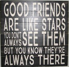 """GOOD FRIENDS LARGE WOODEN SIGN Wall Plaque Made in USA 12""""x12"""" Best Friends"""