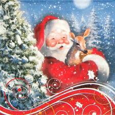 4x Paper Napkins for Decoupage Decopatch Craft Santa's Bambi