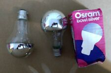 2 Osram bowl silver mirror bulb 60W bayonet B22 light bulbs filament NEW vintage