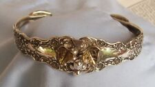 ANTIQUE GRAPE CLUSTER GORHAM BUTTERCUP STERLING SILVER SPOON/FORK CUFF BRACELET