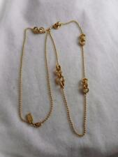 "COACH 36"" GP BEAD CHAIN NECKLACE & SWAROVSKI CHAMPAGNE CRYSTAL LINK STATIONS"