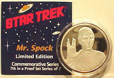 Original SPOCK  Star Trek 1 oz .999 Silver Coin- Proof- Boxed- FREE S&H