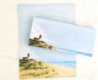Vintage Stationery with Lighthouse Beach Sand Ocean 20 Papers & 23 Envelopes
