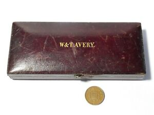 Antique Apothecary Scales in Original Leather Box Branded W&T Avery #CB4