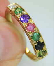 DEAREST ETERNITY RING DIAMOND EMERALD RUBY YELLOW GOLD ON 925 STERLING SILVER Q