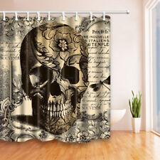 "Custom Skull BathCurtain 12 holes to which rings attach Shower Curtain 71"" x 71"""