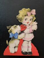 Vtg Gibson Valentine Greeting Card Diecut Girl Scottie Terrier Dog J.G.Scott 30s