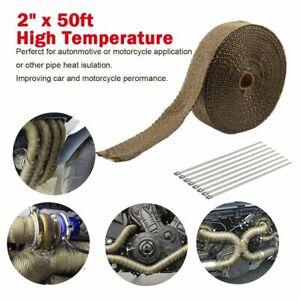 "2"" x50ft Roll Titanium Header Turbo Pipe Manifold Exhaust Heat Wrap Tape 50 Feet"
