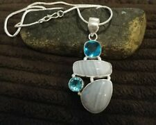 "Natural Blue Lace Agate pendant 2.25""  with 18"" chain"