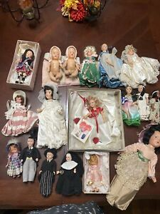 Huge Vintage Doll Lot Of 18 Damaged Use for Parts or Repair-Bisque Plastic