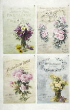 Rice Paper for Decoupage Decopatch Scrapbook Craft Four flower cards