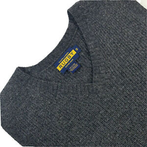Mens S Ralph Lauren Rugby Dark Grey Mini Cable Knit Wool V Neck Sweater Vest