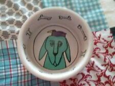 "Ursula Dodge ""Jester"" Dog Food Water Bowl Dish Signature Stoneware 6"""