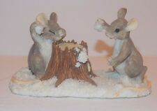 """Charming Tails Mouse Figurine Fitz & Floyd Dean Griff Mice """"The Snowball Fight"""""""