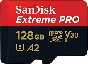 SanDisk Extreme Pro 128 GB microSDXC Memory Card + SD Adapter with A2 App Perfor