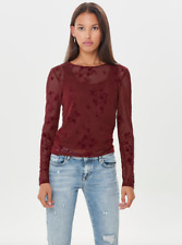 ONLY MESH TOP WITH VELVET FLOWERS CHOCOLATE TRUFFLE BNWT Size S