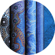 JELLY ROLL - AUSTRALIAN ABORIGINAL ART FABRICS - 25 x STRIPS -  BLUE  #3