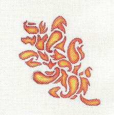 Fall Flame Paisley Oak Leaf handpainted Needlepoint Canvas by Lola's Studio