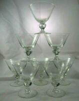 Swedish Gulli Ingrid Clear Sherbet Champagne Glasses 4 Lobe Bubble Stem 8 Lot