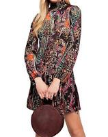 Free People Womens All Dolled Up OB844636 Dress Mini Black Combo Multi Size XS