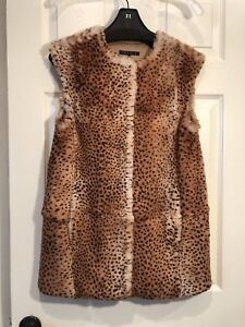 *RARE* Theory Fur Cheetah Print 100% Sheared Spanish Rabbit Vest, SZ P, EUC